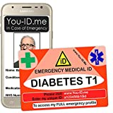 Tipo 1 Diabete Scheda di avviso medico di emergenza, carta d'identità medica di emergenza, identità personalizzata, carta della borsa del portafoglio di sicurezza diabetica, paziente maschio o femmina