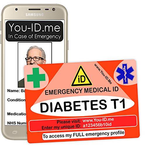 Medizinische Notfallkarte Typ 1 Diabetes, Notfall-Notfall-ID-Karte, personalisierte Identität,Diabetiker Sicherheitstasche, Geldbörse, Geldbörse, Karte für Männer oder Frauen