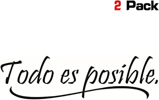okdeals 2 Pack Everything is Possible Spanish Inspiration Quotes Wall Sticker Home Decor Children's Room Vinyl Decorative Wall Decal