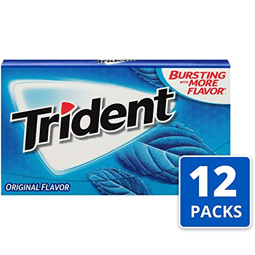 Trident Original Flavor Sugar Free Gum - with Xylitol - 12 Packs (168 Pieces Total) (4 Case(12-Pack))
