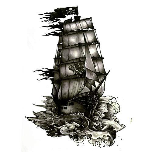 The Black Pearl Pirate Ship Waterproof Temporary Tattoos harajuku men Fake Tattoo hand made sticker Henna Tatoo sleeve tatuajes