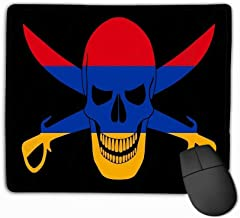Mouse Pad Black Pirate Flag Image Jolly Roger Cutlasses Combined Colors Armenian Flag Pirate Flag Combined Rectangle Rubber Mousepad 11.81 X 9.84 Inch