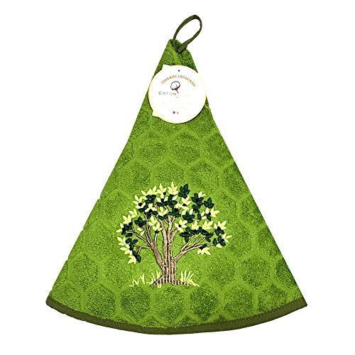 Essuie main rond en éponge Tissage Jacquard olivier vert Qualité Premium
