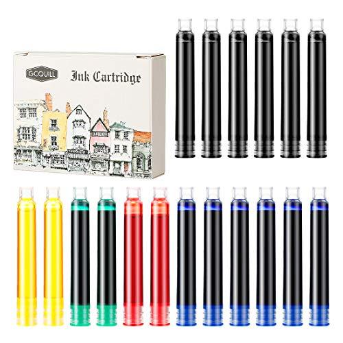 GCQUILL Cartuchos de Tinta 18 Piezas de Tinta/Cartuchos Estándar para Plumas Estilográficas (6 Negras, 6 Azules, 2 Rojas, 2 Amarillas, 2 Verdes)