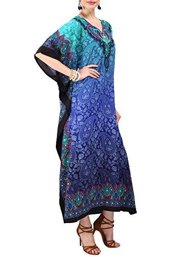 Miss Lavish London Frauen Damen Kaftan Tunika Kimono freie Größe Lange Maxi Party Kleid für Loungewear Urlaub Nachtwäsche Strand jeden Tag Kleider #101 [Blaue EU 52-56]