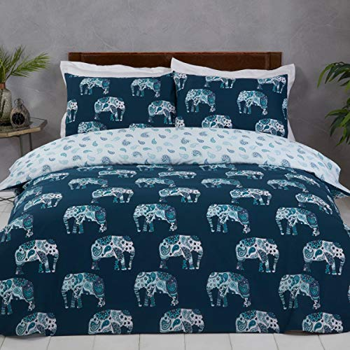 Sleepdown Elephant Teal Blue White Paisley Reversible Soft Easy Care Duvet Cover Quilt Bedding Set with Pillowcases - Double (200cm x 200cm)