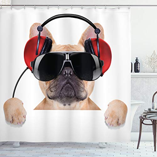 Ambesonne Popstar Party Shower Curtain, Dj Bulldog with Headphones Listening to Music Behind White Banner, Cloth Fabric Bathroom Decor Set with Hooks, 84' Long Extra, Light Brown