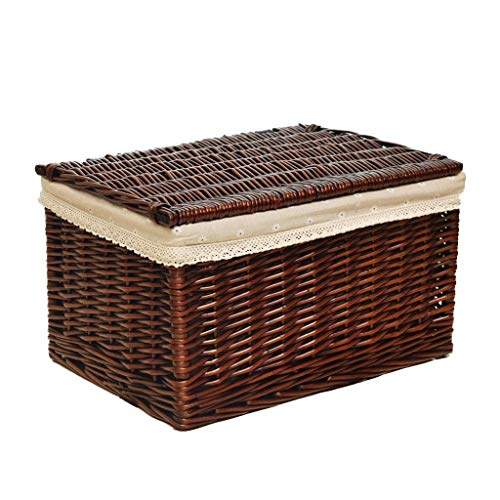 Qubei Household storage box Wicker Willow Storage Log Hamper Basket with Canvas Liner in Choice of Sizes (Size : B)