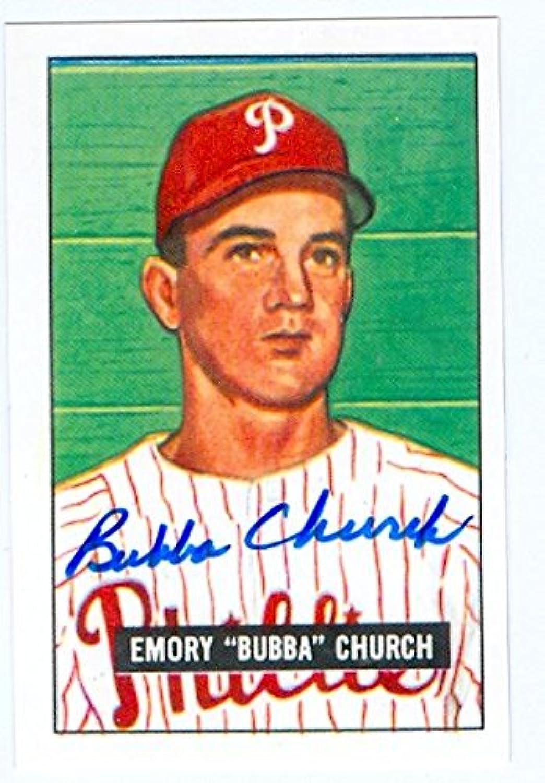 Bubba Church autographed baseball card (Philadelphia Phillies) 1951 Bowman reprint  149 (67)  Autographed Baseball Cards