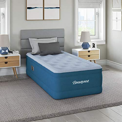 "Simmons Beautyrest Comfort Plus Express Bed, Internal Pump with Plush Velveteen Pillow Top Air Mattress, 100% Leak Proof with Sleep Fresh Technology, 17"" Twin, Blue"