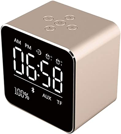 Altoparlanti portatili 2019 Square Mirror Mini Altoparlante Bluetooth Multifunzione Alarm Clock TF Card Cavo audio USB Display Wireless Speaker Multicolor (Color : Gold) - Trova i prezzi più bassi