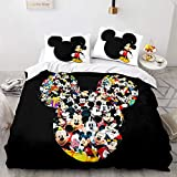 SK-YBB Disney Mickey Mouse Juego De Cama Mickey & Minnie Funda Nórdica Ropa De Cama Funda De Almohada De para Jóvenes Funda Nórdica con Fundas De Almohada (A4,220x240 cm -Cama 150cm)