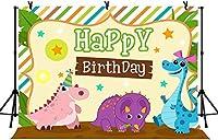 NEWキッズ誕生日パーティーバナー動物恐竜の背景ベビーシャワーの装飾の写真スタジオの小道具のための7x5ftハッピーバースデーの写真の背景215