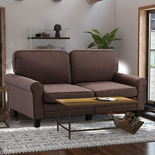 IOMOR Sofa Couch Loveseat Modern Soft Tufted Cushion Sofa Small Space Configurable Couch 61 Inch (Brown)
