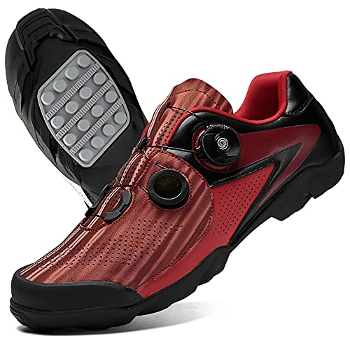 DSMGLRBGZ Zapatillas MTB Hombre, (38-47) Respirable Amortiguación Puntera de TPU, con Hebilla de Zapato Giratoria, para Niño, Niña, Mujer, Zapatillas Montaña Bicicleta Hombres,Rojo,46