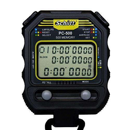 Schütt Stoppuhr PC-500 (500 Memory Speicher | Uhrzeit & Datum | Dualtimer) - Digital Profi Stoppuhr mit Druckpunktmechanik|spritzwasserfest |Trainer
