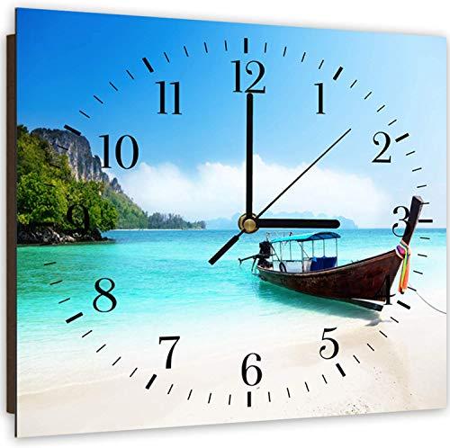 Feeby, Wanduhr, mehrfarbige Deco Panel Bild mit Uhr, 30x30 cm, Boot, Wasser, FELSEN, BÄUME, Aussicht, Landschaft, BLAU, GRÜN, BRAUN