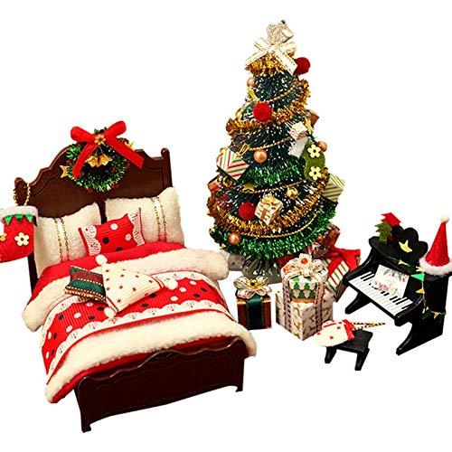 LIUCHANG Weihnachtsmöbel Modell, DIY-Weihnachtsbaum/Klavier- / Bett-Modell, handgemachtes hölzernes Puppenhaus-Spielzeug-Zubehör, Weihnachtsgeburtstagsgeschenk for Kinder und Erwachsene liuchang20