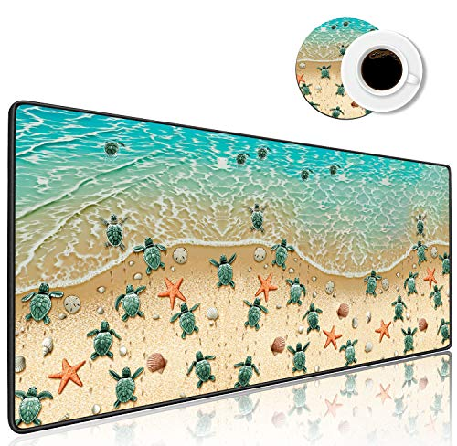 Extended Gaming Mouse Pad, Large XXL Mousepad (31.5' ×11.8') Non-Slip Base Desk Pad with Stitched Edges for Work Gaming Office Home + Coffe Cup Coaster (Sea Turtles on The Beach)