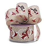 """Christmas Snowman Wired Edge Ribbon - 2 1/2"""" x 10 Yards, Red White Snowmen, Faux Natural Burlap, Gifts, Bows, Wreath, Presents, Boxing Day, Winter Decor, Gift Basket"""