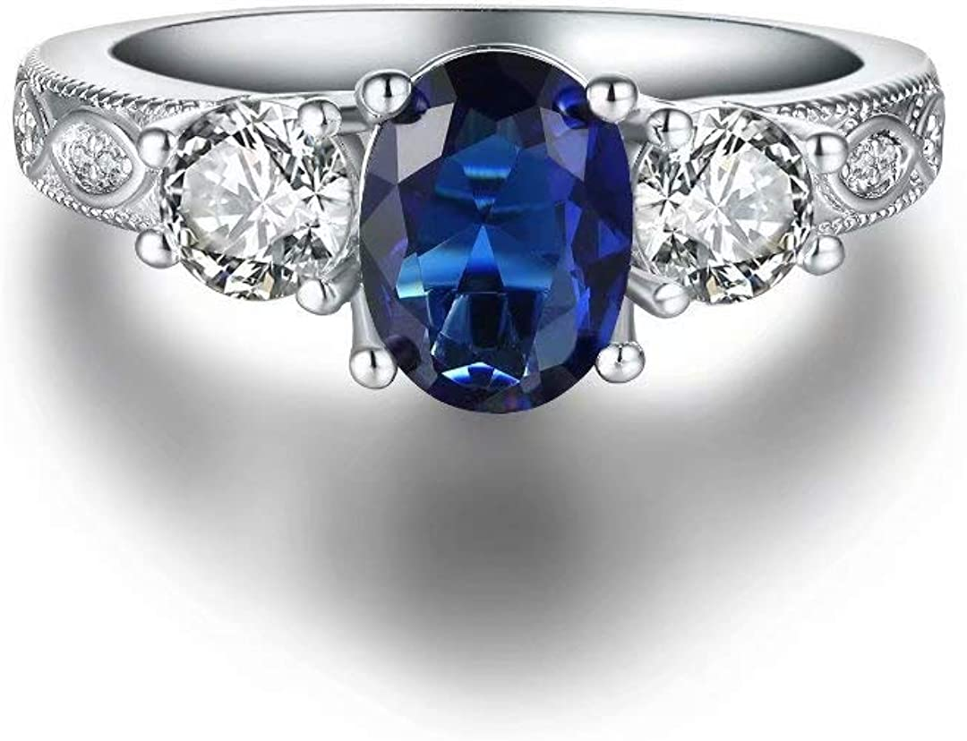 Hewayiu White Gold Plated Birthstone Rings Birth Month Engagement Promise Rings for Women