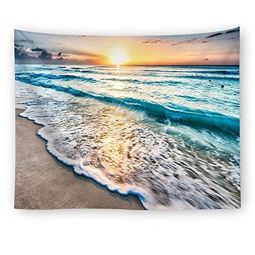 Zonsondergang Roze Zee Tapijt Oceaan Strand Muur Opknoping Water Golven Landschap Strand Decoratie Wolk Blauw Schuimachtige Deken A1 100x150cm
