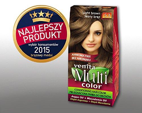 Venita Multi Color Soins Couleur des cheveux avec de l'huile d'argan et de macadamia Marron clair (Light Brown) N ° 5.3