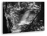 deyoli Pequeño Arroyo en el Bosque Efecto: Negro/Blanco como Imagen de Lienzo, diseño Enmarcado en Marco de Madera auténtica, impresión Digital Marco, sin póster o Cartel, Lona, 60x40