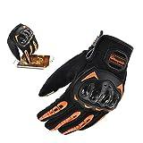 Guantes completos de BJ Global para racing, motocross y ciclismo (para hombres), color naranja, tamaño L