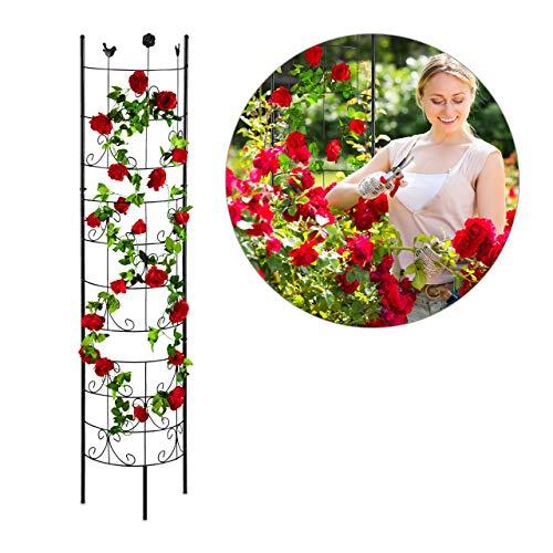 Relaxdays Rankgitter Metall, halbrund, zum Stecken, Rankhilfe für Kletterpflanzen, Spalier Garten, 180 cm hoch, schwarz