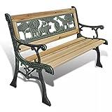 Tidyard 84cm Metall Gartenbank für Outdoor, Veranda, Patio Möbel Stuhl w/Floral Design Rückenlehne, Bronze