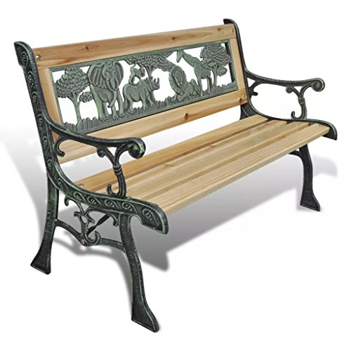 Irfora Garden Bench, Bench for Children Outdoor Furniture Wooden Slats + Iron Frame 80 cm Wood