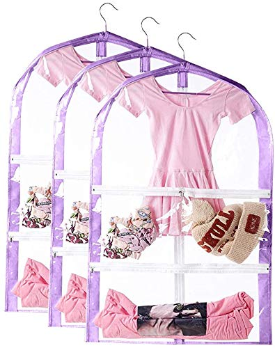 "35"" Kid's Garment Bag, Foldable Hanging Children's Dance Costumes Bags with 3 Pockets, Clear PEVA Garment Storage Bags (Purple, 3 PCS)"