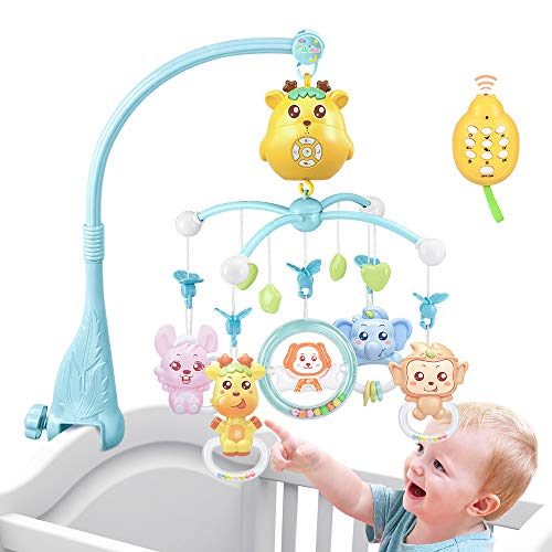 Baby cot Mobile for Pack and Play, Crib Toys with Lights, Music and Projection Rechargeable Mode (Blue)
