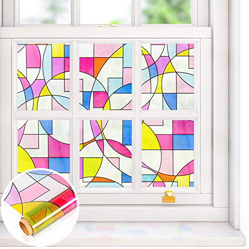 VEELIKE Privacy Window Film Color Geometric Frosted Window Vinyl Stained Glass Window Decals Static Cling Window Covering Decorative Non-Adhesive Sun Blocking Heat Insulation for Home 15.7x118 Inches