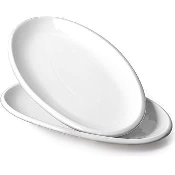 DOWAN Large Serving Platters - 14 Inches Oval Serving Plates White Porcelain Platters Oven Safe Serving Dishes for Meat, Appetizers, Dessert, Fish, Party, Set of 2, White