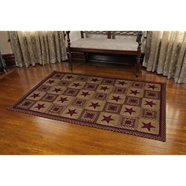 IHF Home Decor Country Star Wine Braided Area Rug Rectangle 20 x 30 Inch Jute Fiber