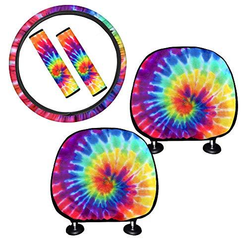 POLERO Rainbow Tie Dye - Funda protectora para reposacabezas de auto interior con cubierta universal de 15 pulgadas, funda para cinturón, funda para reposacabezas ⭐