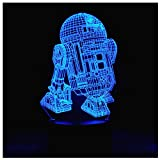 3D Illusion Platform Night Lights Touch Switch 7 Color Change USB Power LED Desk Lamp for Home Decorations or Holiday Gifts (R2-D2)