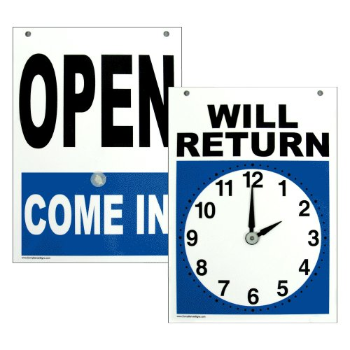 Open Come in - Will Return Sign, 7x5 inch Plastic for Dining/Hospitality/Retail by ComplianceSigns