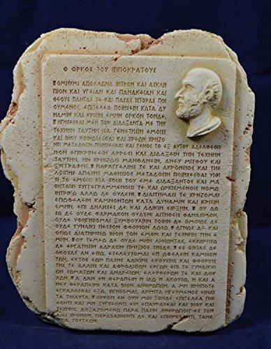 Hippokrates Skulptur Oath Vater der Medizin Tablet in antike griechische