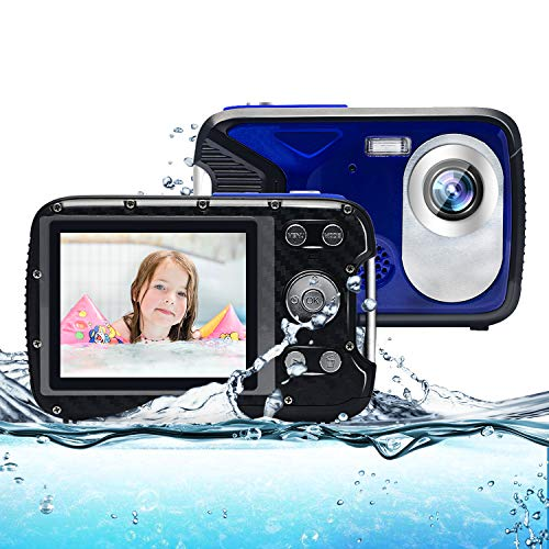Kids Camera,Waterproof Camera 21MP 1080P Underwater Digital Camera with Flash 2.8 Inch LCD, Rechargeable HD Digital Camera for Boys and Girls Snorkeling/Travel/Gift(Blue)