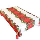 TheStriven Tovaglia Natalizia Tessuto di Stoffa Tovaglia Natalizia Rettangolare Tovaglia Natale Rossa Tovaglia Antimacchia Modello di Prua Lavabile Tovaglie Natalizie Decorazioni Natalizie 150x180cm