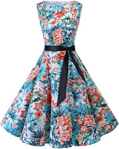 Bbonlinedress 50s Retro Schwingen Vintage Rockabilly Kleid Cocktail Faltenrock Blue Red Flower L