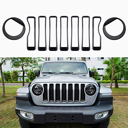 Sunluway Front Grille Trim Inserts Grill Cover 7 Pcs Black compatible with Jeep Wrangler JL JLU Sports//Sports 2018 2019