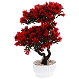 Yardwe Bonsai artificial de pino acogedor, árbol en maceta artificial de plantas de casa para la decoración de escritorio Zen Garden (rojo)