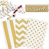 60 hojas de papel de seda para envolver regalos, papel de seda con papel de regalo dorado para manualidades, flores, bodas, cumpleaños (28 x 50,8 cm)