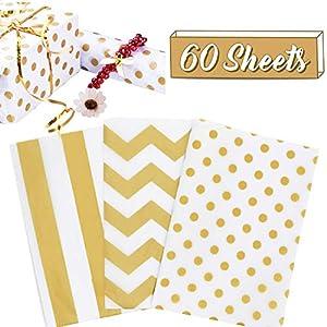 60 hojas de papel de seda para envolver regalos, papel de seda con papel de regalo de papel de embalaje para…