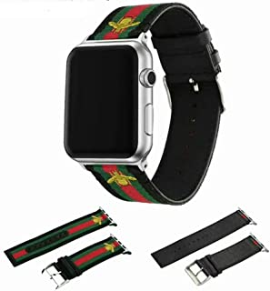 Houding-Pro Nylon Band Compatible with Apple Watch 42mm 44mm,Replacement Nylon Band with Green and Red Striped and Embroidered Golden Bees Sport Bands for iWatch Series 4/3/2/1(Golden Bees 42/44mm)