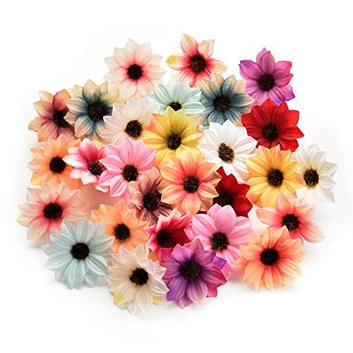 NWSX Künstliche Blumen, Kunstblumen Köpfe, Seidenblumen im Verlierer Schüttung Großhandel, Seidenrose, Blütenköpfe für Hochzeitsdekoration 80 stücke 5CM (Multicolor)